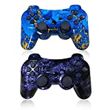 CHENGDAO PS3 Controller Wireless 2 Pack Double Shock Gamepad for Playstation 3 Remote,Six-axis Wireless PS3 Controller Support PC (Windows XP/7/8/10) with Charging Cable