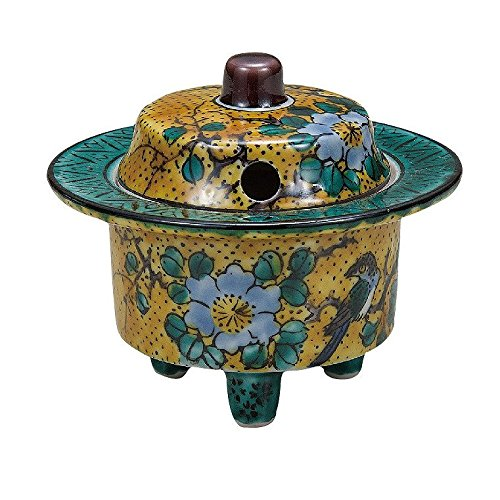 Jpanese traditional ceramic Kutani ware. Incense burner Koro. Yoshidaya. With wooden box. ktn-K5-1443