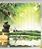 Ambesonne Fabric Shower Curtain Spa Decor by, Mildew Resistant Bathroom Zen Garden Theme Decor View for Bathroom Magical Jasmine Flower Japanese Design Relaxation Bamboos Candles, Green Yellow
