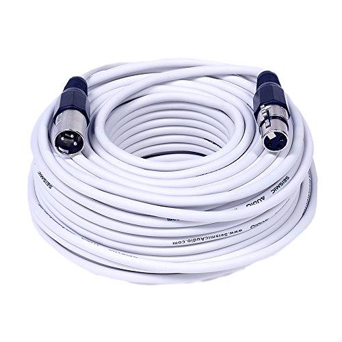 Seismic Audio White 100 Foot XLR Cable-100' Microphone Cord Mic (SAXLX-100White)