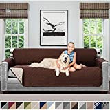 Sofa Shield Original Patent Pending Reversible Oversize Sofa Slipcover, Dogs, 2' Strap/Hook, Seat Width Up to 78' Washable Furniture Protector, Couch Slip Cover (Oversize Sofa: Chocolate/Beige)