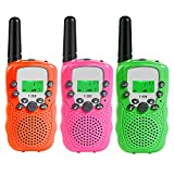 MOSUNECE Walkie Talkies for Kids Walkie Talkies 3 Miles Long Range 22 Channels 2 Way Radio Gifts for Kids Boys Girls T-388(3 Pack)