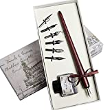 Hethrone Wooden Dip Pen Handcrafted Calligraphy Pen Set Gift Writing Case with Ink and 6 nibs