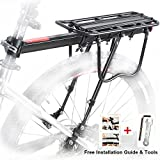 Bike Rear Rack, Bicycle Luggage Rack Aluminum Cycling Carrier Rack Mountain Bike MTB Luggage Cargo Rack with Reflector