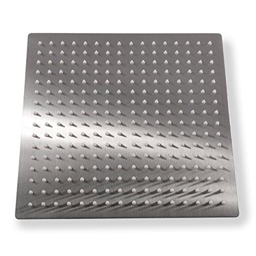 KiaRog 12 Inch (12'') Rain Brushed Shower Head. 12-Inch Side,1/16'' Ultra Thin Showerheads.30 CM 30 CM Stainless Steel Shower