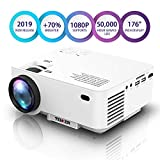 Projector, Upgraded TENKER Projector, 70% Brighter, Mini Home Theater Movie Projector with 4.0' LCD and Up to 176-inch Display, Supports 1080P HDMI/USB/SD Card/AV/VGA for TVs/Laptops/Games