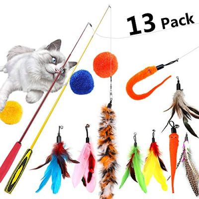 BAODANstore Cat Wand Toys, 13 Pcs Feather Teaser Cat Toy Multi Replacement Retractable Teaser Catcher with Bells and Soft Balls, Interactive Exercise for Kitten or Cats