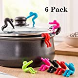Spill-proof Lid Lifter for Soup Pot 6 Pack, Kitchen Tools Lid Stand Heat Resistant Holder Keep The Lid Open, Great Cooking Helpers and Decoration