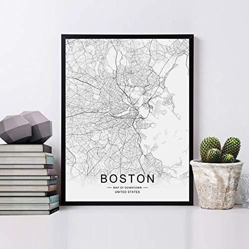 Amazon.com: Boston Map Wall Art Boston Street Map Print Boston Map Decor  City Road Art Black and White City Map Office Wall Hanging 11x14inch  Unframed: Handmade