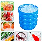 Besmon Ice Bucket, Large Silicone Ice Bucket & Ice Mold with lid, (2 in 1) Space Saving Ice Cube Maker, Silicon Ice Cube Maker, Portable Silicon Ice Cube Maker