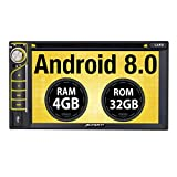 PUMPKIN Android 8.0 Car Stereo Double Din DVD Player 4GB RAM with Navigation, WiFi, Support Android Auto, Fastboot, Backup Camera, USB SD, AUX, 6.2 Inch Touch Screen