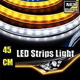 45CM Ultrathin LED Strip Lights DRL Daytime Running Headlight White-Amber Dual Color 2pcs Waterproof Flexible LED Tube Side Signal Light (17inch)