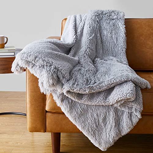 Amazon Basics Shaggy Long Fur Faux Fur Sherpa Throw Blanket, 50″x60″ – Light Grey