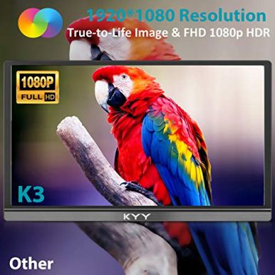 Portable-Monitor-KYY-156inch-1080P-FHD-USB-C-Laptop-Monitor-HDMI-Computer-Display-HDR-IPS-Gaming-Monitor-wPremium-Smart-Cover-Screen-Protector-Speakers-for-Laptop-PC-MAC-Phone-PS4-Xbox-Switch