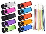 32GB Flash Drive Pack of 10 Thumb Drives Bulk, Kepmem Metal USB 2.0 Memory Sticks Swivel Pen Drive 32 GB, Portable Keychain Jump Drive Colorful Multipack Zip Drives for Data Storage