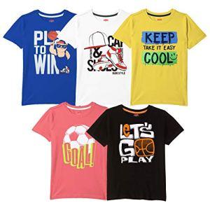 ARIEL Boys' Tshirt Pack of 5 Cotton, Regular Fit, Multicolour