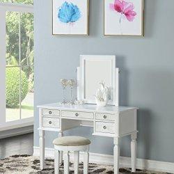 Bobkona Vanity Table With Stool Set, White