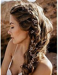 FXmimior Bridal Wedding Crystals Long Hair Vine Wedding Evening Party Headpiece (rose gold)