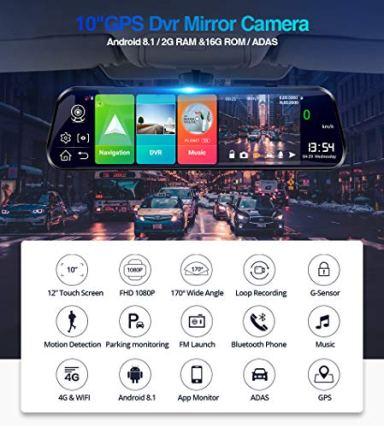 EKLEVA-4G-ADAS-Car-DVR-Camera-10-Android-81-RAM2GB-ROM16GB-Stream-Media-Rear-View-Mirror-FHD-1080P-WiFi-GPS-Dash-Cam-Registrar-Video-Recorder