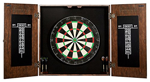 Barrington Bristle Dartboard Cabinet Set: Professional Hanging Classic Sisal Dartboard with Self Healing Bristles and Accessories - 6 Steel-Tip Darts