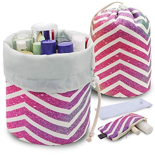 UYRIE Portable Makeup Toiletry Cosmetic Travel Organizer Bag, Large Drawstring Hanging Packing Bag for Women Girl Men, Lightweight Multifunctional Barrel Shaped Storage Bag (Rainbow Stripes)