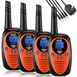 Walkie Talkies Rechargeable 4 Pack, Mksutary walkie talkies for Kids,2 Way Radios Kids Toys,Long Range 2 Miles,22 Channels Transceiver with DC Charger for Children Adults Biking Hiking Orange