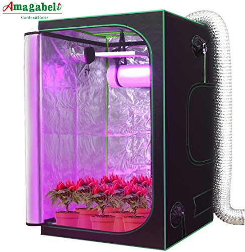 AMAGABELI GARDEN & HOME HW0005 Mylar Hydroponic Grow Tent for, Indoor Plant Growing with Observation Window Removable Floor Tray, 4 x 4'/48' x 48' x 80', Black