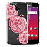FINCIBO Case Compatible with Huawei Union Y538, Clear Transparent TPU Silicone Protector Case Cover Soft Gel Skin for Union Y538 - Peonies Classic