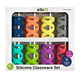 Ello Tallboy 8 Piece Glassware Set with Protective Silicone Sleeves - BPA Free & Dishwasher Safe - Great for Entertaining Indoors & Outdoors - Makes the Perfect Gift, 17oz