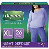 Depend Night Defense Incontinence Underwear for Women, Disposable, XL, 26 Count