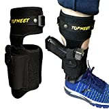 topmeet Ankle Gun Holster Concealed Carry,Tactical Pistol Holster with OWB IWB Magazine Pocket Fit Glock 43 26 17 19 Sig Sauer for Men and Women,Black XL