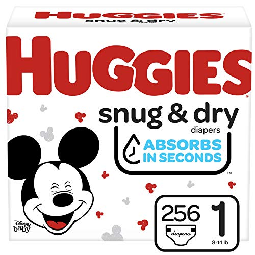 Huggies Snug & Dry Baby Diapers One Month Supply White Size 1 (256 Count)