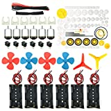EUDAX 6 set Rectangular Mini Electric 1.5-3V 24000RPM DC Motor with 84 Pcs Plastic Gears,Electronic wire, 2 x AA Battery Holder ,Boat Rocker Switch,Shaft Propeller for DIY Science Projects