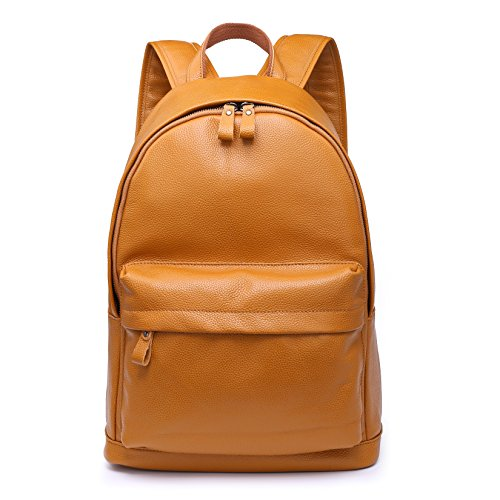 CPJ Genuine Leather Backpack Fits 15.6' Laptop Casual Daypack Schoolbag for Boys & Girls