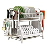 Jian E- Storage Rack - Kitchen 304 Stainless Steel Wall-Mounted Drain Dish Rack (Capacity : Flagship Model, Size : 30X54X46cm)