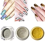 Vrenmol 1 Box Holographic Laser Powder Nail Glitter Rainbow Pigment and 2 Boxes Mirror Powder Nail Chrome Silver Gold Set