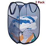 HOMEIDEAS Pack of 2 Pop Up Mesh Laundry Hamper Portable & Collapsible Popup Laundry Basket for Dorm, Kids Room or Travel, Navy Blue