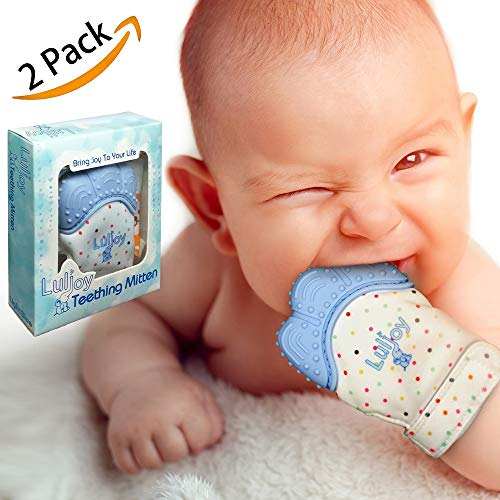 LuliJoy Teething Mitten Set of 2 - Baby Glove Teether Toys for Boys & Girls - Adjustable Strap Stays on Infant Hands - FDA-Approved Silicone Teether for Natural Baby Pain Relief, Sensory Stimulation