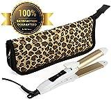 Travel Flat Iron 2-in-1 Mini Hair Straightener Curling Iron Dual Voltage 374 Degree Temperature Nano Titanium - Insulated Carry Bag Include