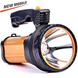 CSNDICE 35W LED Rechargeable Handheld Searchlight, High-power Super Bright 9000mah 6000 Lumens, USB Power Bank Rechargeable flashlights IPX4 Waterproof Searchlight, Portable Handheld Torch.(Golden)