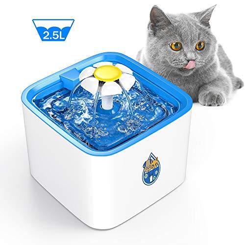 DELOMO Pet Water Fountain, 84oz/2.5 L Automatic Electronic Pet Fountain, Cat Water Fountain, Super Quiet Water Dispenser for Cats