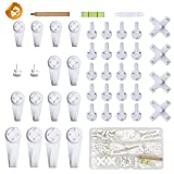 EuTengHao 43Pcs Invisible Nail Screws Wall Hooks No Trace Picture Hangers Traceless Photo Hook Hardwall Drywall Picture Hooks Multi Function Heavy Duty Picture Art Painting Frame Hanger (35Lbs,6Types)