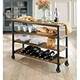 Product review for Modern Classic Design Generic Whalen Santa Fe Kitchen Cart with Wine Rack Rustic Brown Finish, Brown