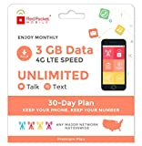 Red Pocket Mobile Premium 30 Day Prepaid Phone Plan, No Contract, Free SIM Kit; Unlimited Talk, Unlimited Text & 3 GB of LTE Data