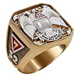 UNIQABLE Scottish Rite 32 Degree Masonic Ring 18K Gold PLD Yellow Version 40 Grams Templar Handcrafted BR-5 (10.5)