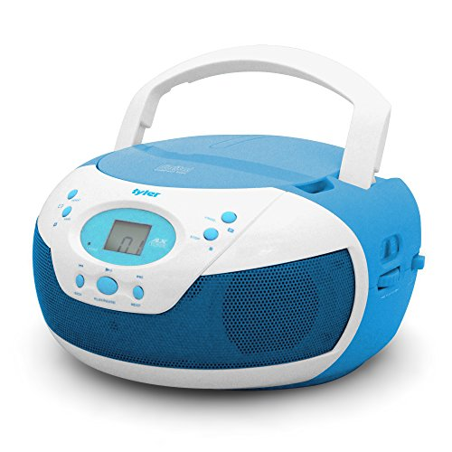 Tyler Portable Neon Blue Stereo CD Player with AM/FM Radio and Aux & Headphone Jack Line-In (TAU105-NBL)