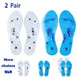 MindInsole Acupressure Magnetic Massaging Insoles - Massage Reflexology Plantar Fasciitis Pain Relief Silicone Insoles with Arch Support for Men and Women (White、Blue, 2 Pair US M:9.5-12.5 W:10.5-12)