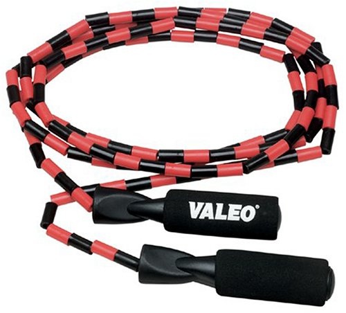 Valeo Beaded Jump Rope, Adjustable 9-Foot Length With Durable Plastic Beaded Nylon Rope And Molded Handles With Foam Grips, VA4451MU
