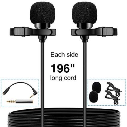 PoP-voice-Premium-16-Feet-Dual-Head-Lavalier-Microphone-Professional-Lapel-Clip-on-Omnidirectional-Condenser-Mic-for-Apple-iPhoneAndroidPCRecording-YouTubeInterviewVideo-ConferencePodcast