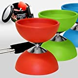 Diabolo + Aluminum Sticks + Free Online Video, All in a Tin Can - The Ulitmate Set (Medium Size - Red)